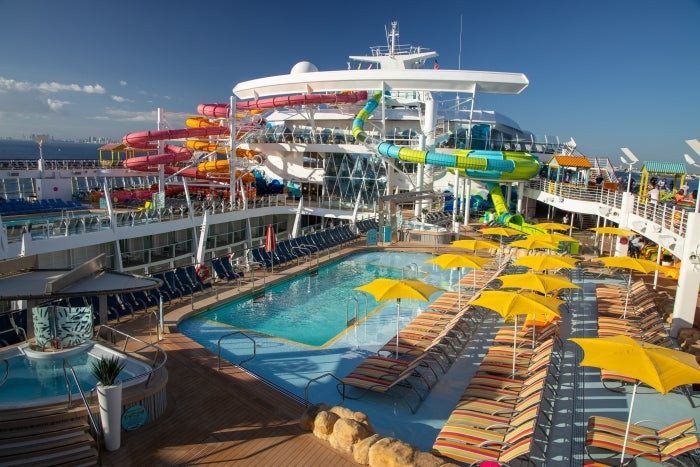 The pool deck on the cruise ship Oasis of the Seas.