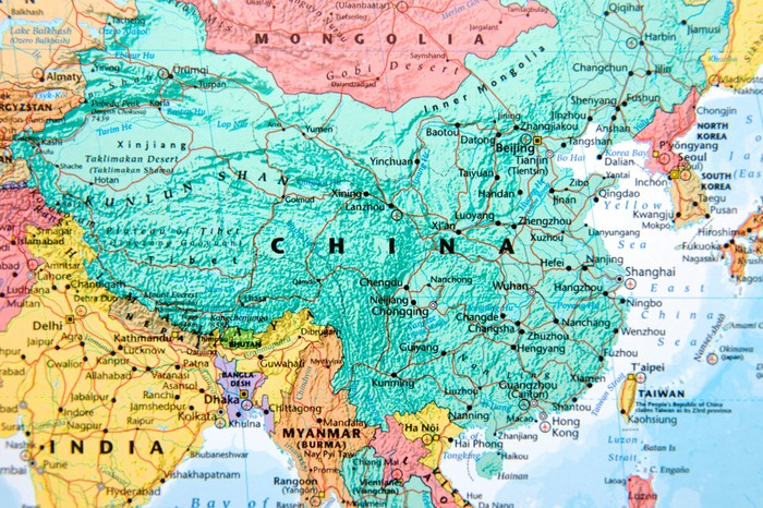 Map showing China and India