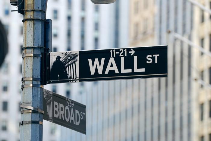 A Wall Street street sign.