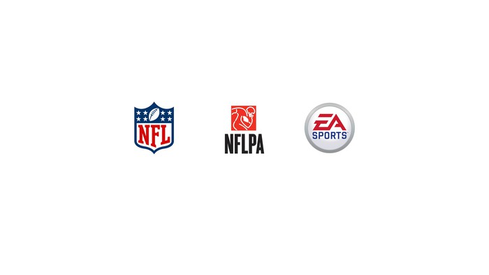 The logos of the NFL, NFL players association, and Electronic Arts side by side.