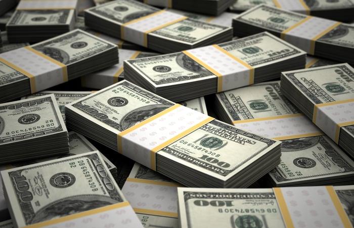 Stacks of $100 bills bundled together.