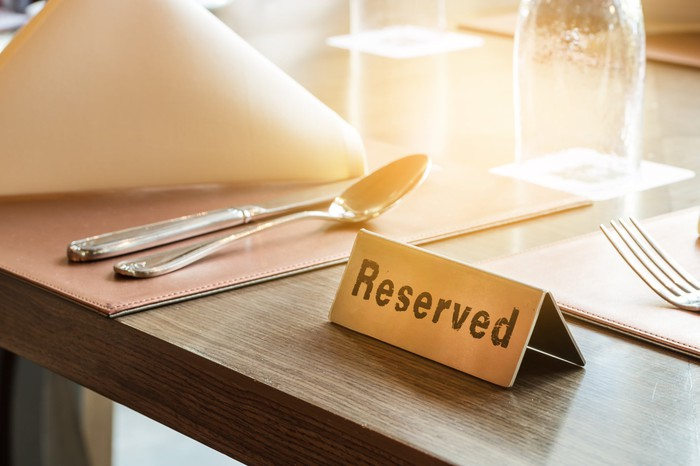 A reserved restaurant table.