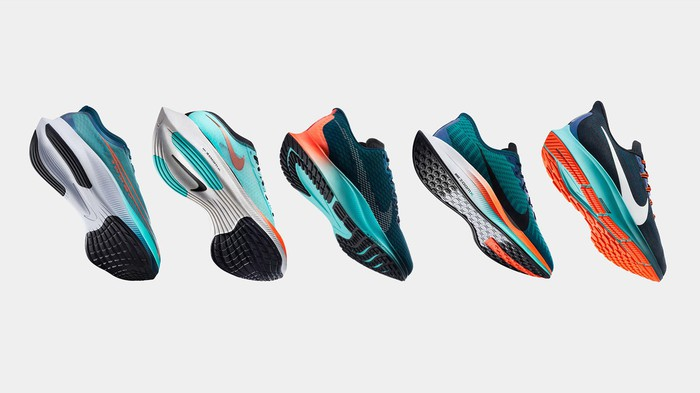 Five Nike Zoom shoes in a row