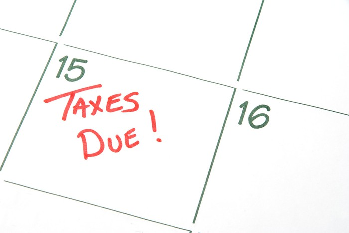 Taxes due written on 15th date of calendar.