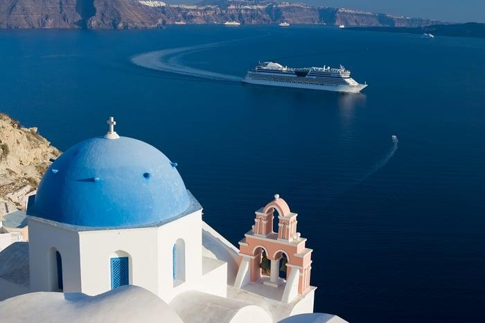 Cruise ship off Santorini.
