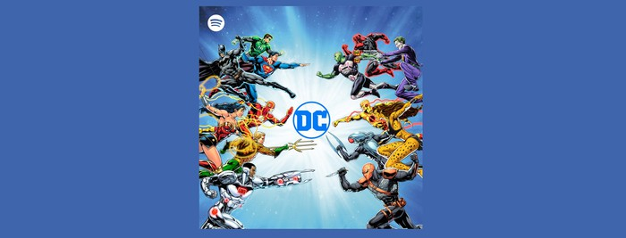 DC comic characters around the DC logo. Spotify's logo in the corner.