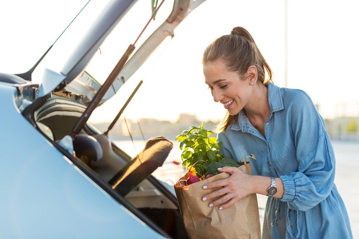 Woman loading groceries into her car.