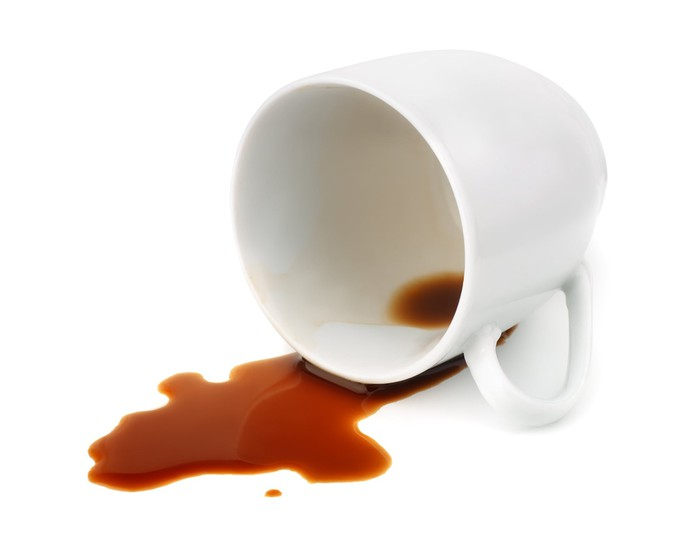 Spilled coffee cup