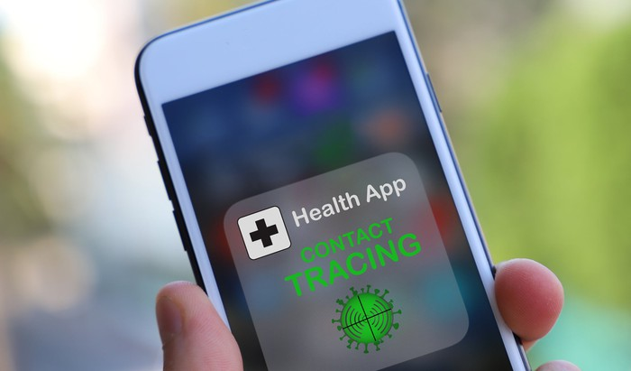A smartphone showing a contact tracing app.