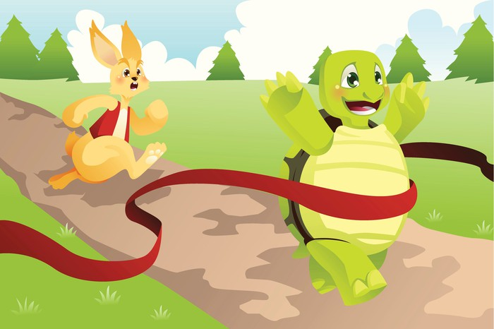 Cartoon depiction of tortoise winning a race ahead of the hare