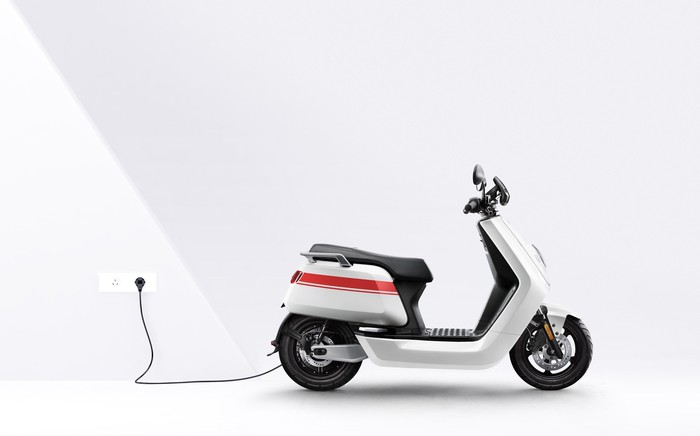 An Niu Technologies battery-electric scooter.