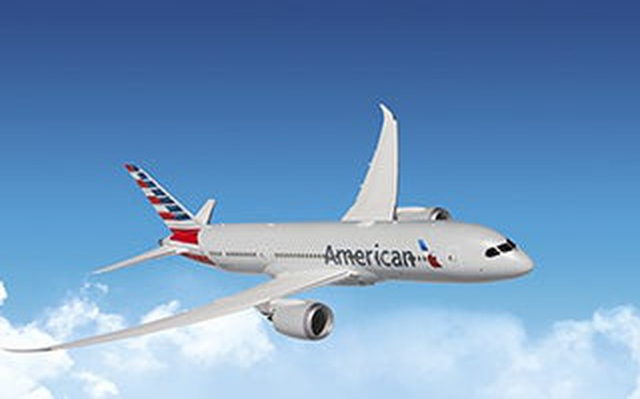 American Airlines airplane in flight.
