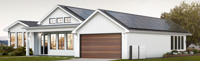 A home with Tesla's solar panels on the roof.