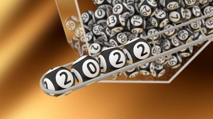 "Bingo balls with the four balls reflecting ""2022"""