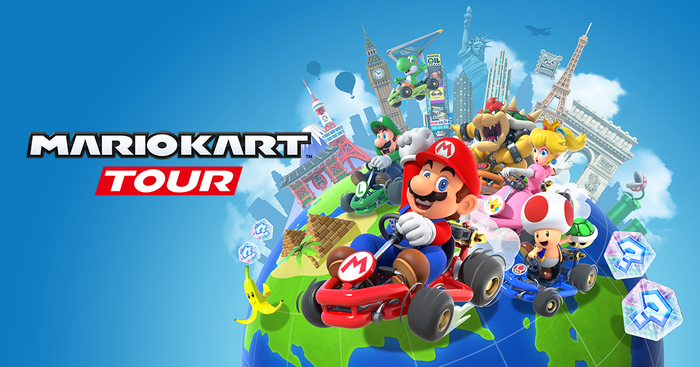 Characters from Nintendo's 'Mario Kart Tour' and the game's logo.