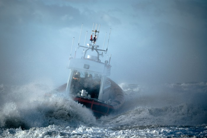 Ship at sea in a storm