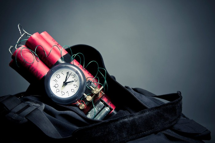 Several sticks of dynamite with wires and a clock wrapped in a black cloth.