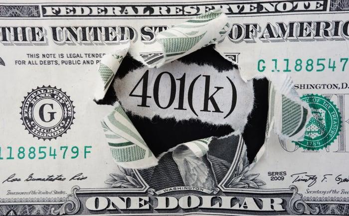 Words 401(K) popping through a one dollar bill.