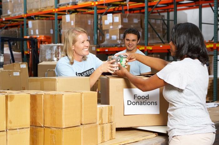 Food bank donation drop off