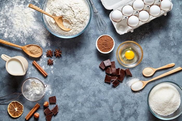 Baking ingredients: eggs, flour, sugar, chocolate, etc.