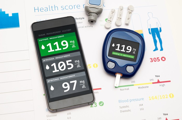 Cell phone showing diabetes metrics next to a glucometer and health documents