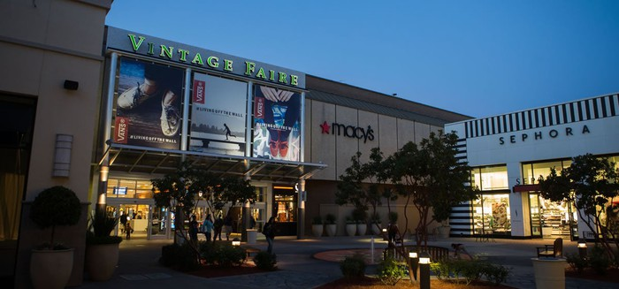 Macy's and Sephora stores near the entrance to Vintage Faire Mall