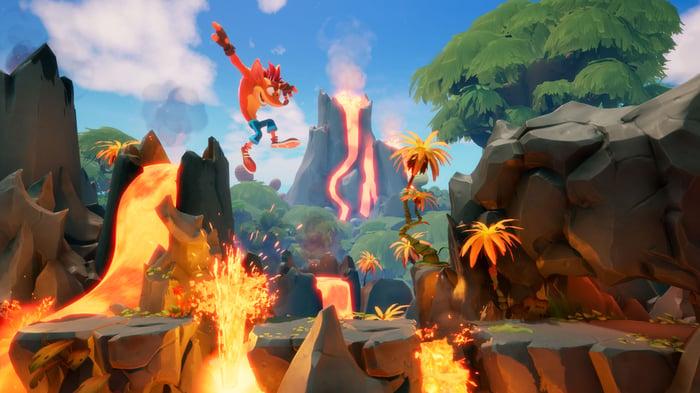 Crash Bandicoot jumping over lava.