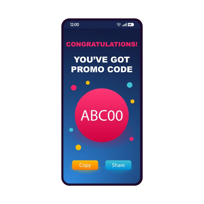 Brightly colored promo code coupon shown on a smartphone.