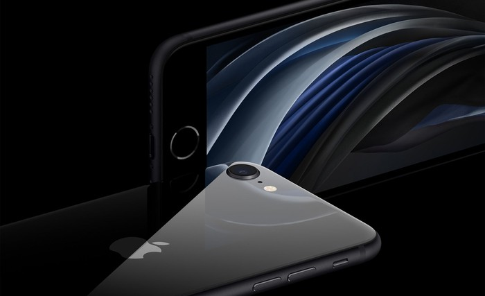 A front and back view of the new black Apple SE.