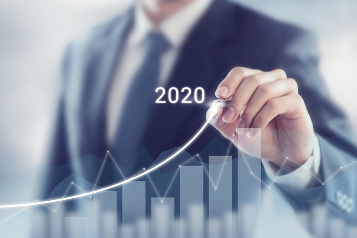 A man in a suit drawing a line going up on a screen with a bar graph on it. He stops at 2020.