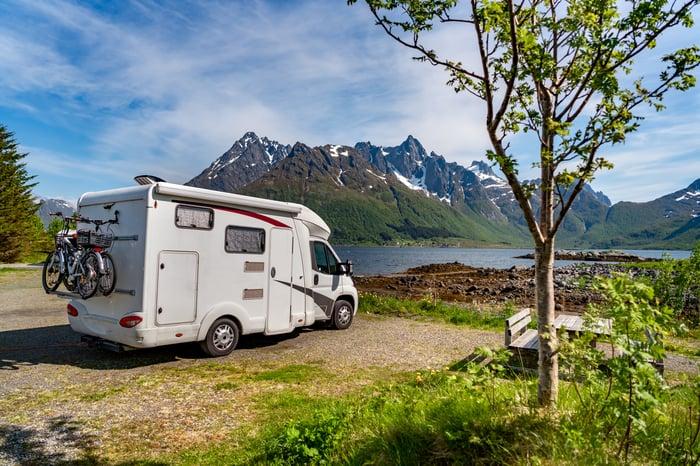 An RV parked near a lake.