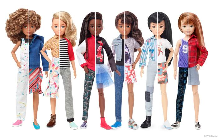 Mattel dolls.