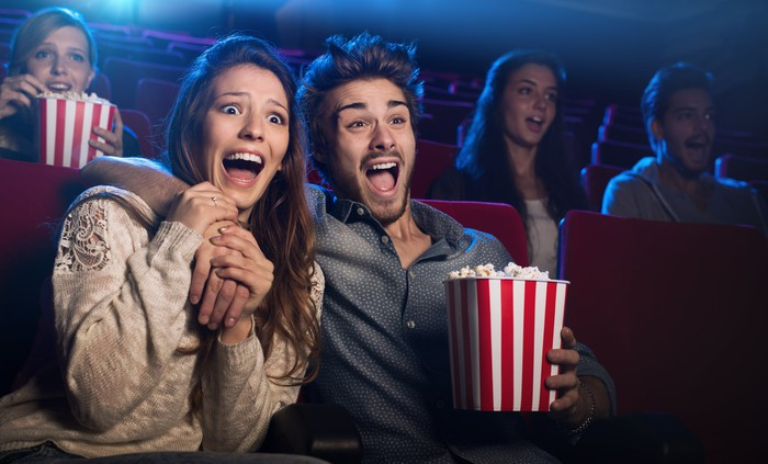 Couple reacting with surprise to movie