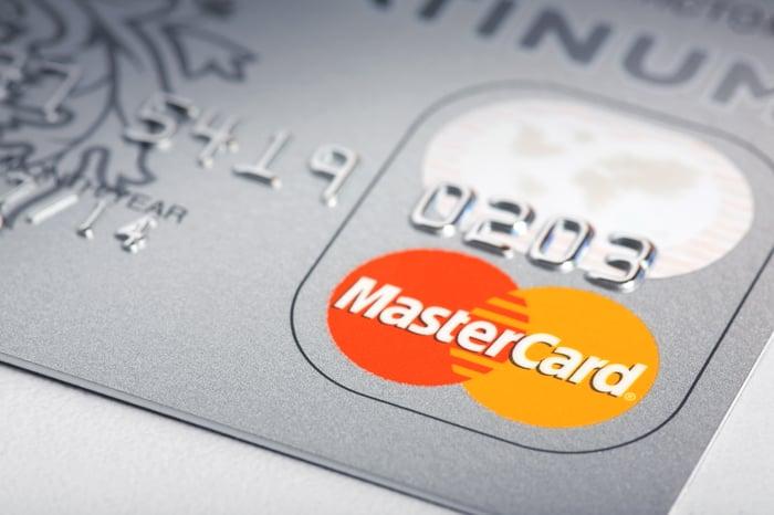 Closeup of a MasterCard credit card.