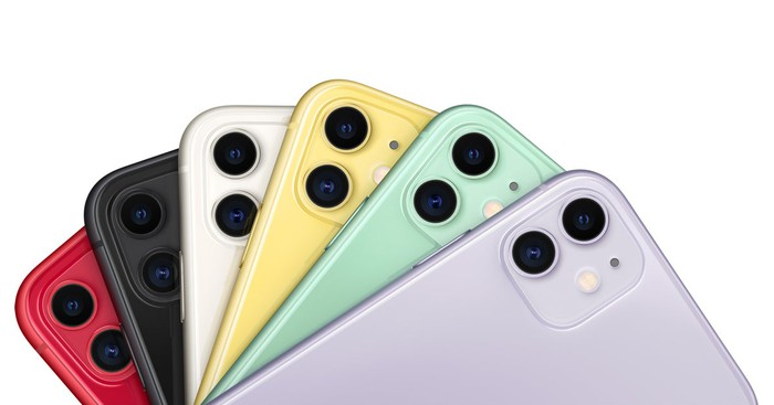 Six iPhone 11 devices in different colors