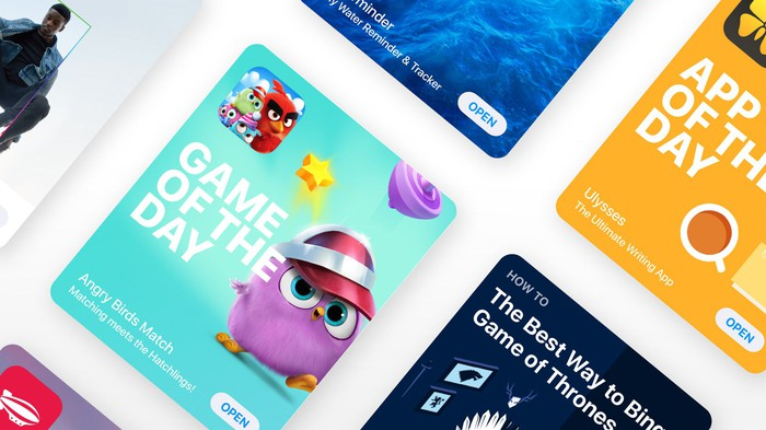 App Store content cards laid out in a diagonal grid