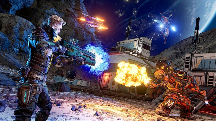 A screenshot of Take-Two's Borderlands 3 video game showing a soldier firing a gun at a large enemy.