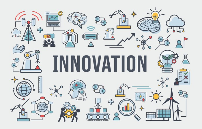 The word innovation in the center of various graphics representing innovation in different industries.