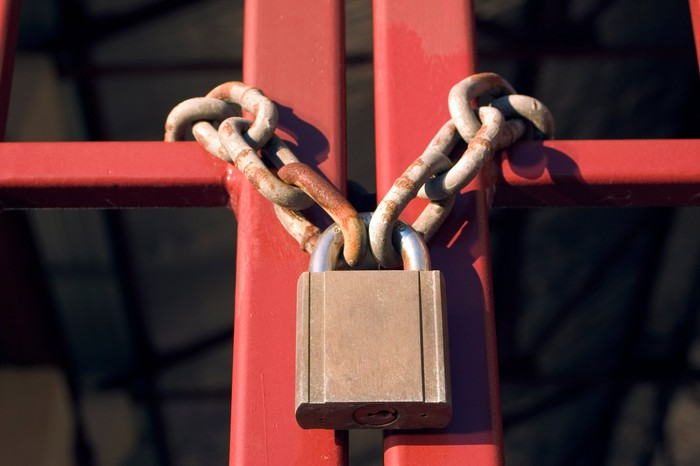Gates chained and padlocked