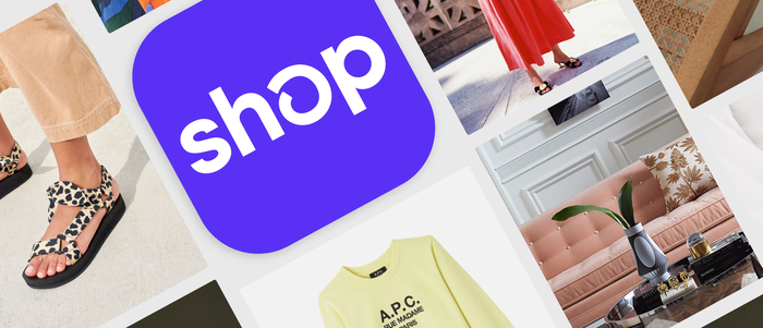 Shopify's Shop app logo surrounded by pictures of merchant products.