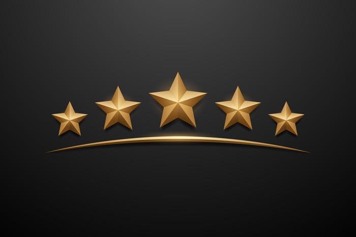 Five gold stars, underlined