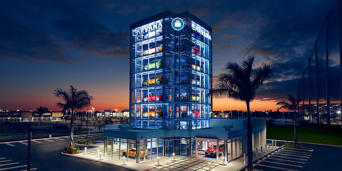 A Carvana store in Miami, with its distinctive vending machine tower garage.