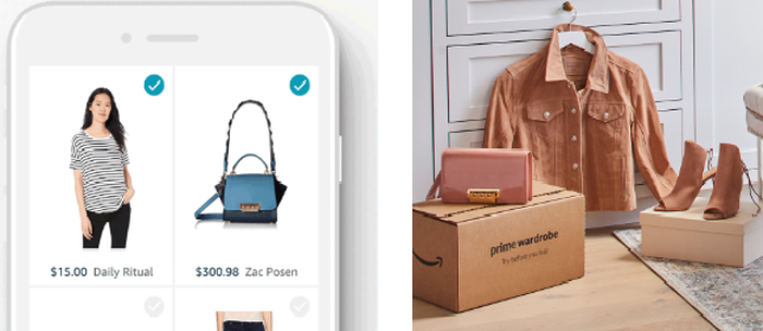 Left pane: Top of a cell phone with women's fashion items on screen. Right pane: Several new women's fashion items in front of a dresser.