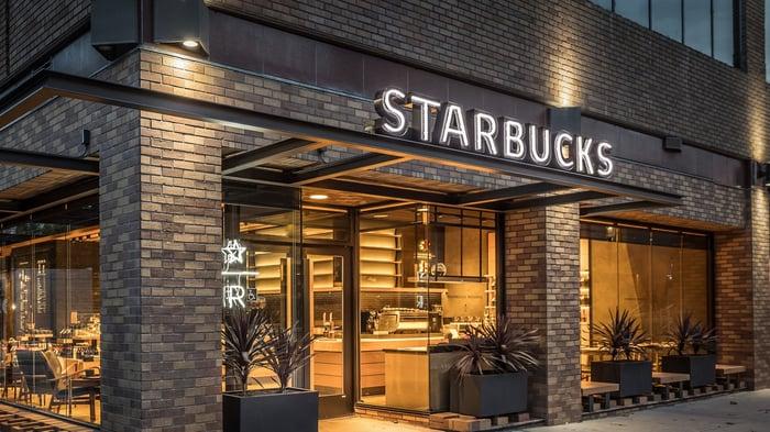 Facade of a Starbucks store.