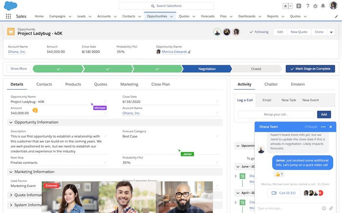 A screenshot of a Salesforce data page, with the new Anywhere app with chat and video call overlayed on top.