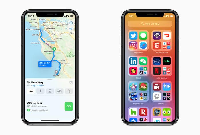 Two iPhone displaying screenshots of iOS 14 interface