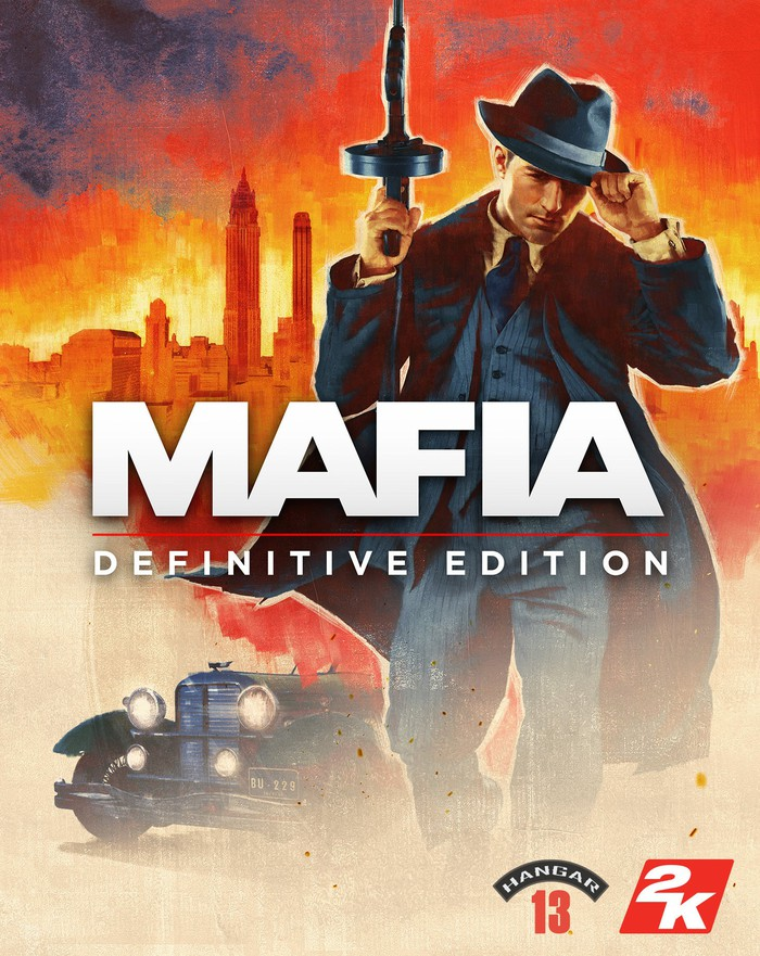 Game box art for Take Two's Mafia showing a man in a black suit holding a gun.