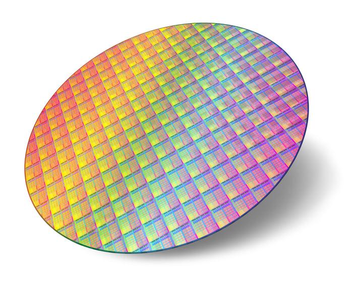 Circular-shaped silicon wafer.