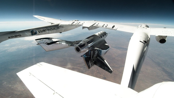 VSS Unity being released from VMS Eve during June 25 glide test flight.