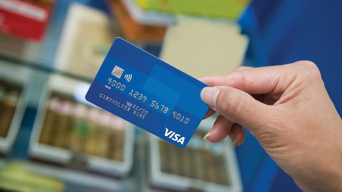 Hand holding a blue Visa card.